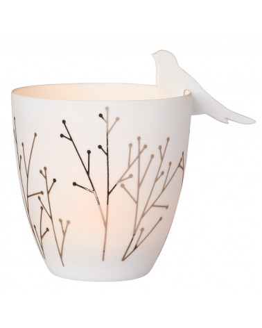 Räder Porcellain Tealight Poetry Light Golden Bird