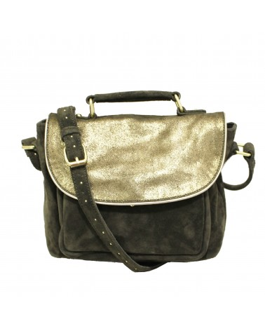 Suede Leather Bag Basta Black by Une a Une