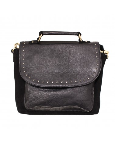 Suede Leather Bag Basta Black Gold by Une a Une
