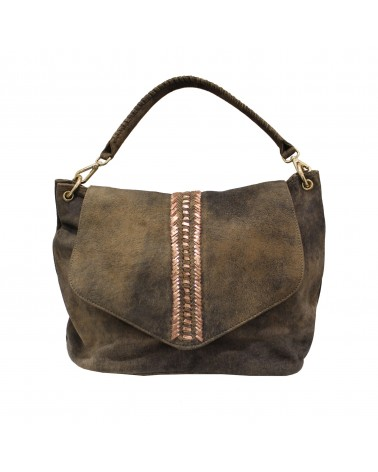 Suede goat leather Handbag Bucket Chocolate golden by Une a Une