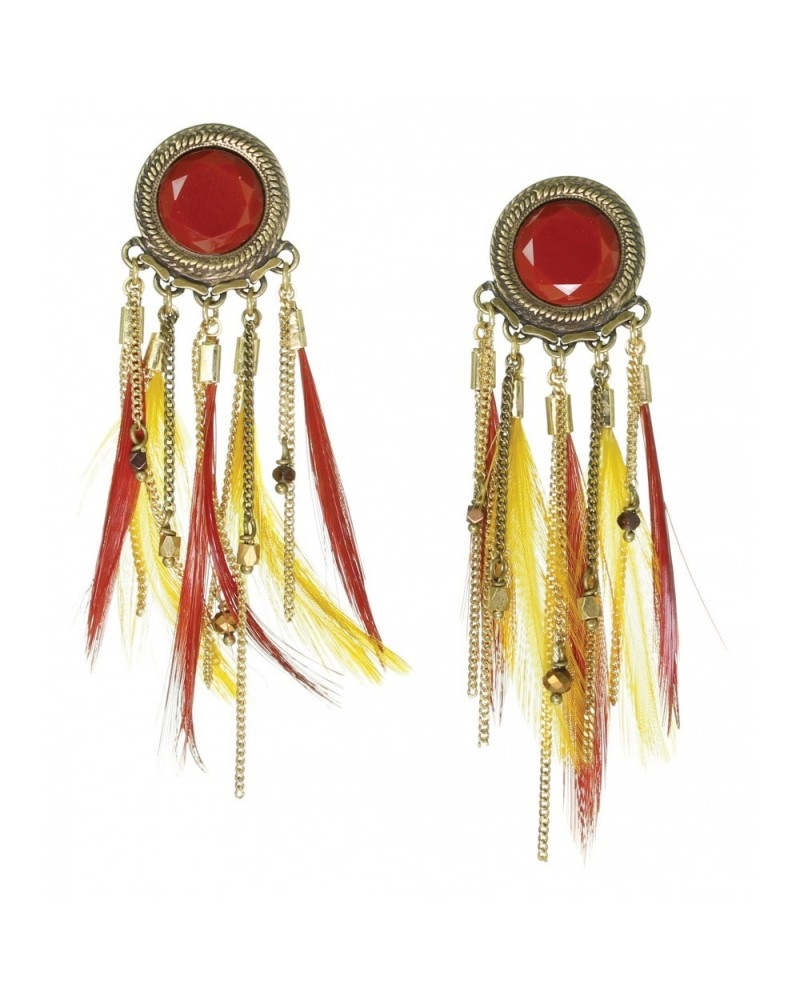 Franck Herval - TASHA Post Earrings with feathers fringe