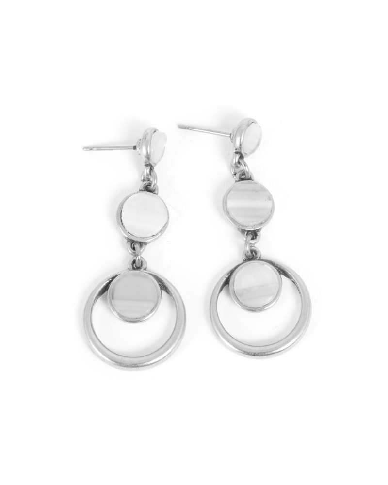 Arts & Crafts - Earrings Post Silver with Agate grey 17 mm