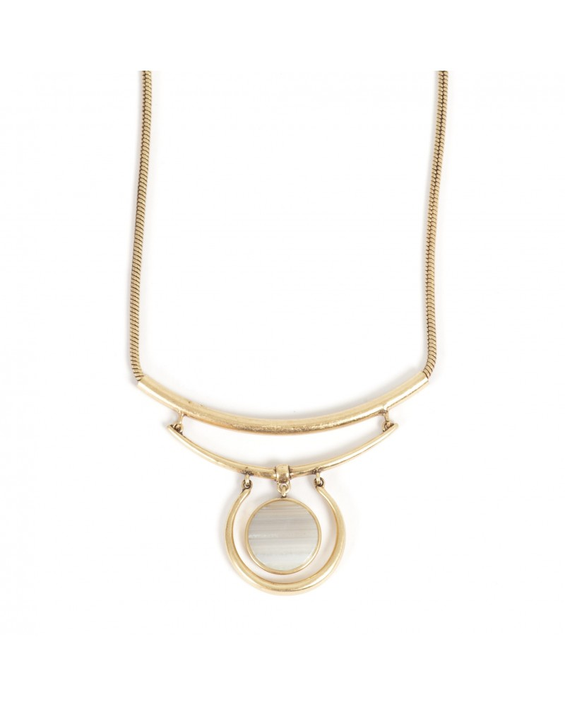 Arts & Crafts - Necklace Gold with Agate grey