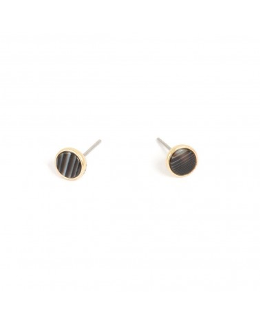 Arts & Crafts - Boucles d'oreilles Or Agate rayée 7mm