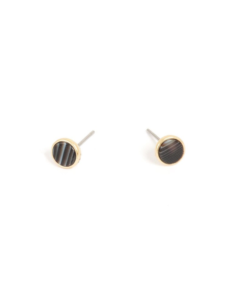 Arts & Crafts - Earrings Post Gold with grey agate 7mm