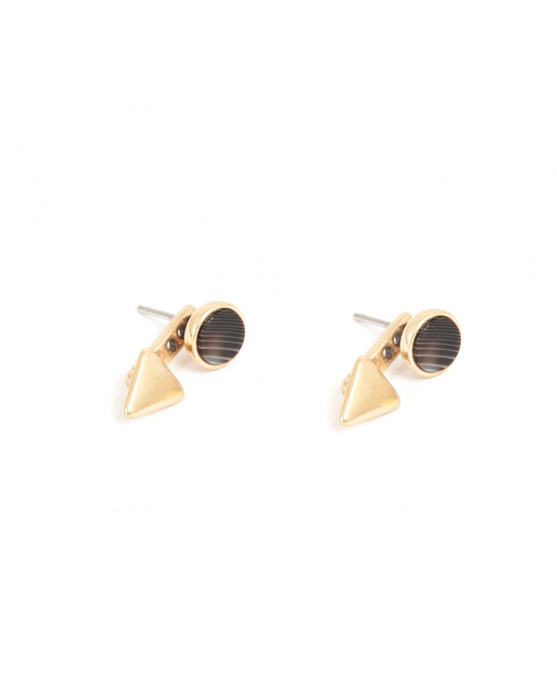 Arts & Crafts - Earrings Post Gold with grey agate 17 mm