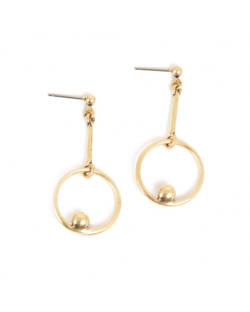 Arts & Crafts - Earrings Post Ear Jacket Gold with stripy agate 7 mm