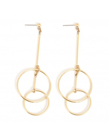 Arts & Crafts - Earrings Post Gold with dangling circle