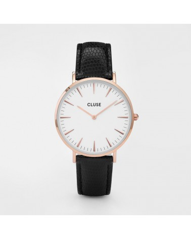 CLUSE - Montre Femme La Bohème Rose Gold White/Black Lizard