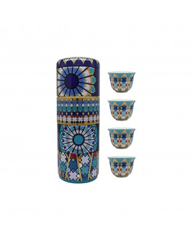 Images d'orient - Tin Box With 4 Coffee Cups Moucharabieh Blue