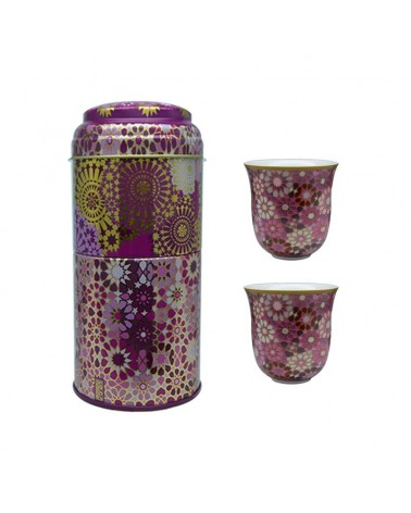 Images d'orient - Tin Box With 2 Coffee Cups Moucharabieh Blue