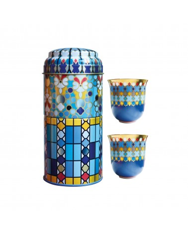 Images d'orient - Tin Box With 2 Coffee Cups Moucharabieh Parme