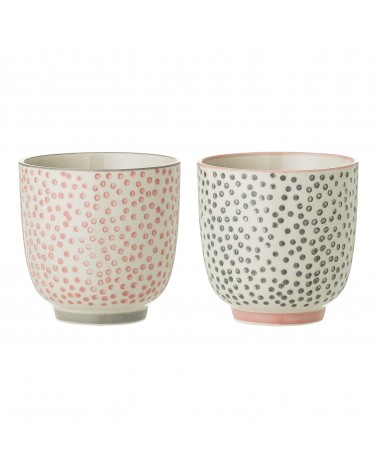 Multicolor Flower Sandstone Mugs x2 Bloomingville
